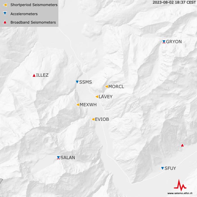 Seismische Stationen nahe Lavey-les-Bains